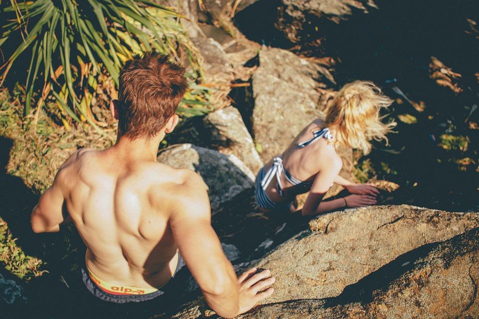Paar in Badesachen